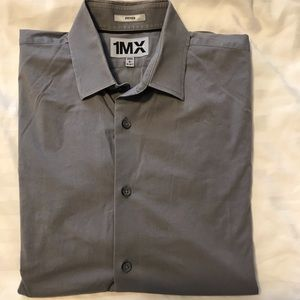 Express Button Down 1MX solid grey fitted shirt L